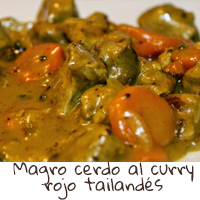 Magro de cerdo al curry rojo tailandés