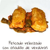 Pescado rebozado con asadillo de verduras
