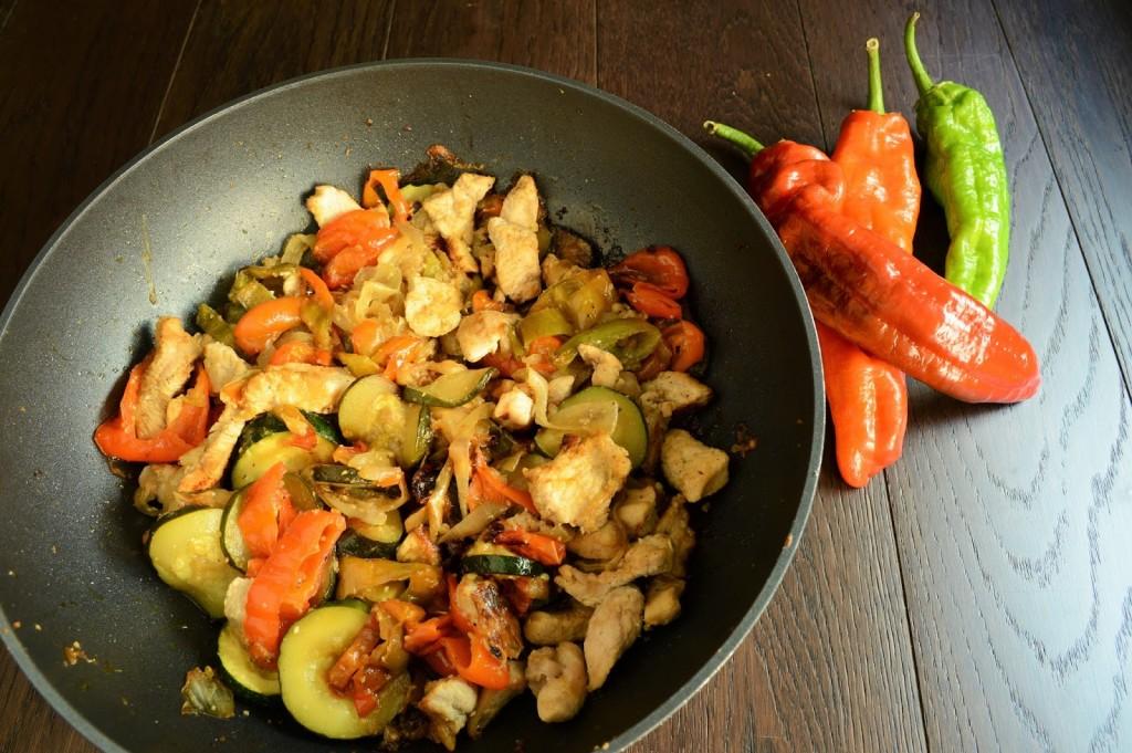 receta wok pavo verduras